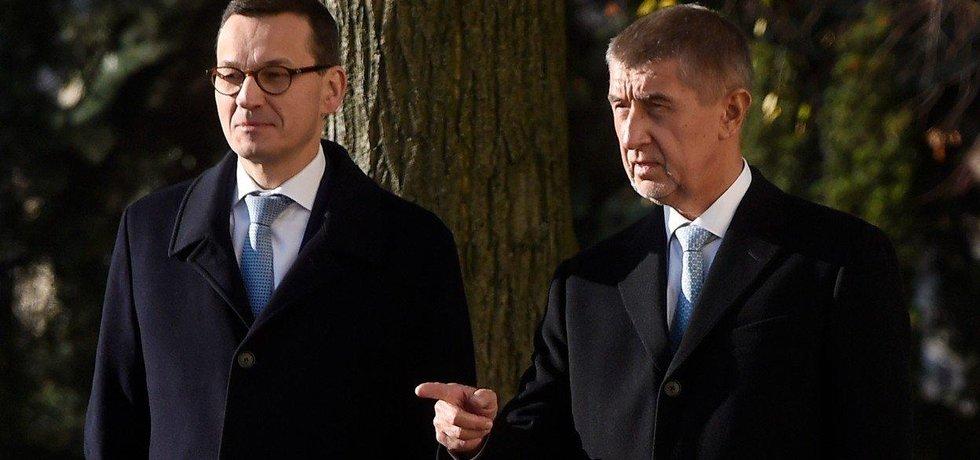 Polský předseda vlády Mateusz Morawiecki a český premiér Andrej Babiš