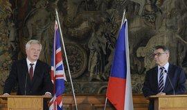 Ministr pro odchod Velké Británie z EU David Davis a český ministr zahraničí Lubomír Zaorálek