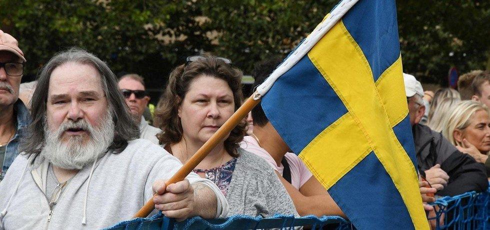 Mítink protiimigrační strany Švédští demokraté, ilustrační foto