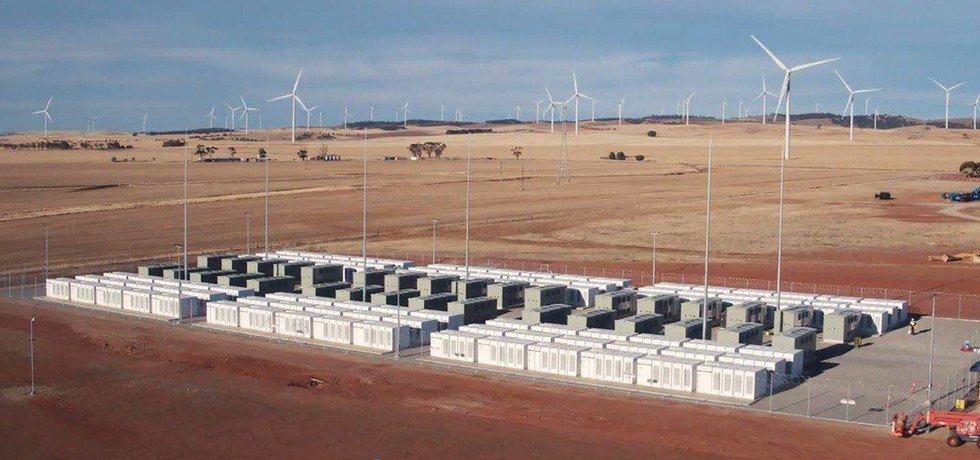 Největší li-ion baterie světa. Tesla ji připojila k síti u australské větrné elektrárny firmy Neoen u města Jamestown