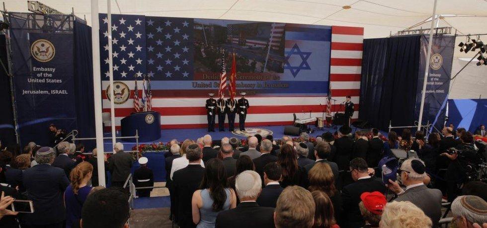 Ceremonie u příležitosti přesunu ambasády USA v Jeruzalémě.