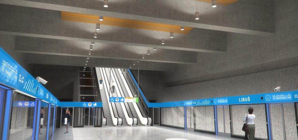 Vizualizace stanice metra D Libuš