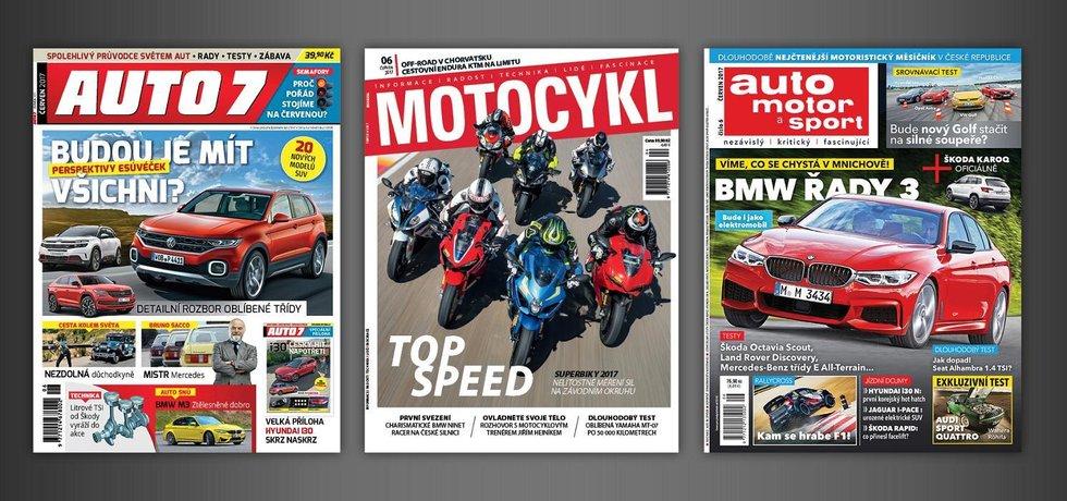 Motoristické časopisy AUTO7, auto motor a sport a Motocykl