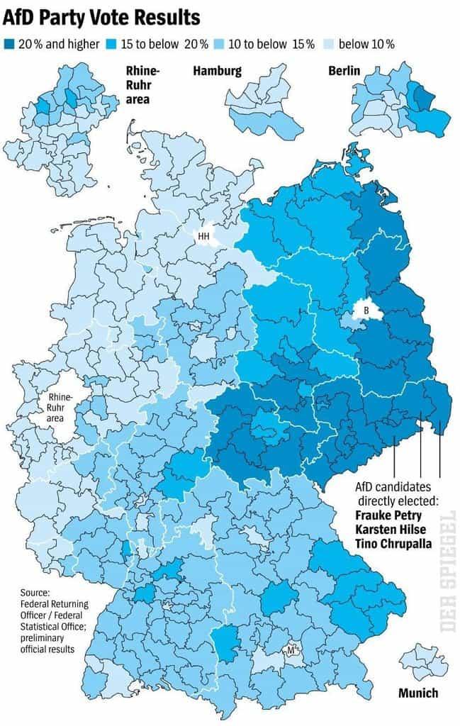 Podíl hlasů pro AfD v německých volbách 2017