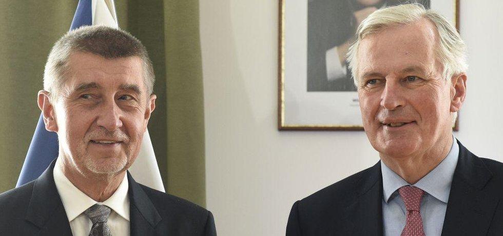 Premiér v demisi Andrej Babiš s hlavním vyjednavačem Evropské unie pro Brexit Michelem Barnierem