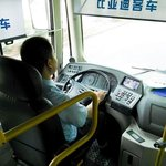 Interiér autobusu BYD K9 v roce 2014 v čínském Šen-čenu.