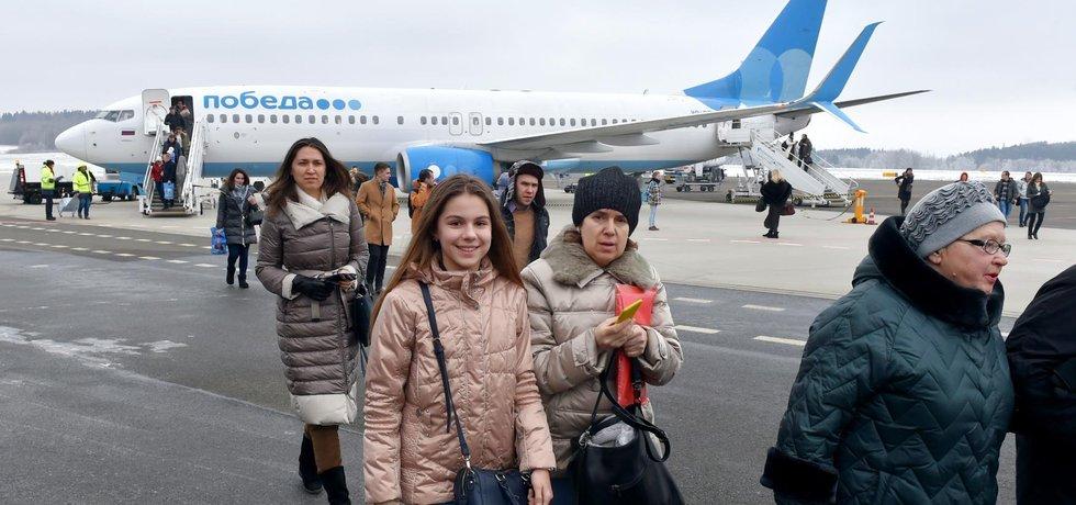 První spoj ruského nízkonákladového dopravce Pobeda dosedl v Karlových Varech