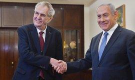 Český prezident Miloš Zeman a izraelský premiér Benjamin Netanjahu