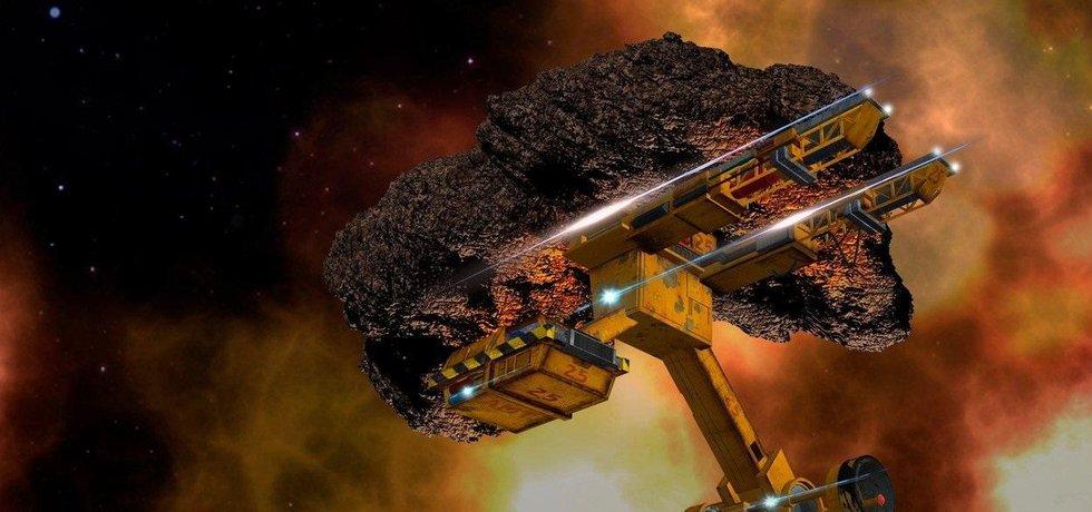 Těžba nerostných surovin ve vesmíru, ilustrační fotomontáž