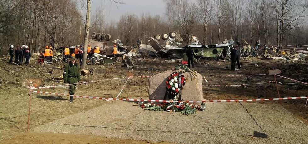 Místo pádu polského vládního letounu ve Smolensku