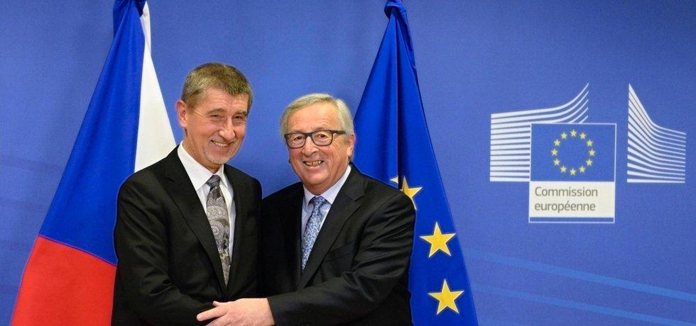 Andrej Babiš s předsedou Evropské komise Jeanem-Claudem Junckerem, ilustrační foto