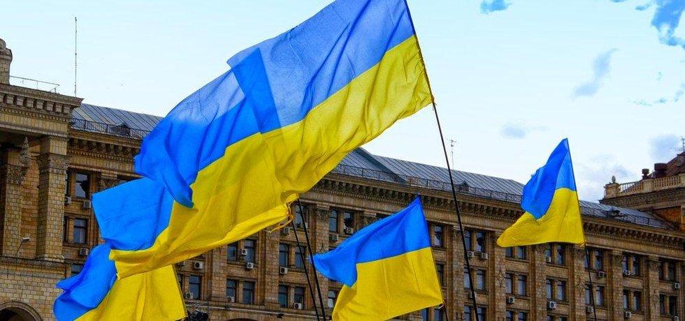Ukrajinské vlajky, ilustrační foto