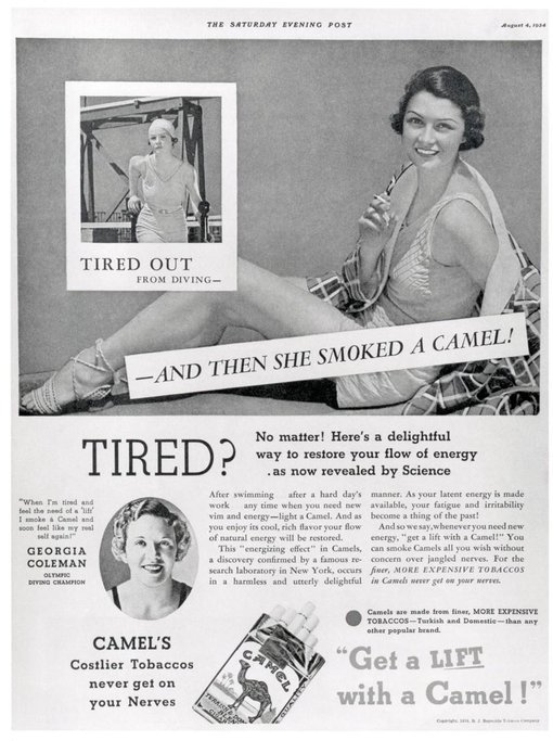 Podle Olympijské plavkyně Georgie Coleman jsou cigarety nejlepším zdrojem energie.