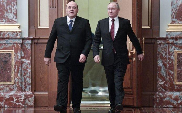 Ruský prezident Vladimir Putin a nový premiér Michail Mišustin