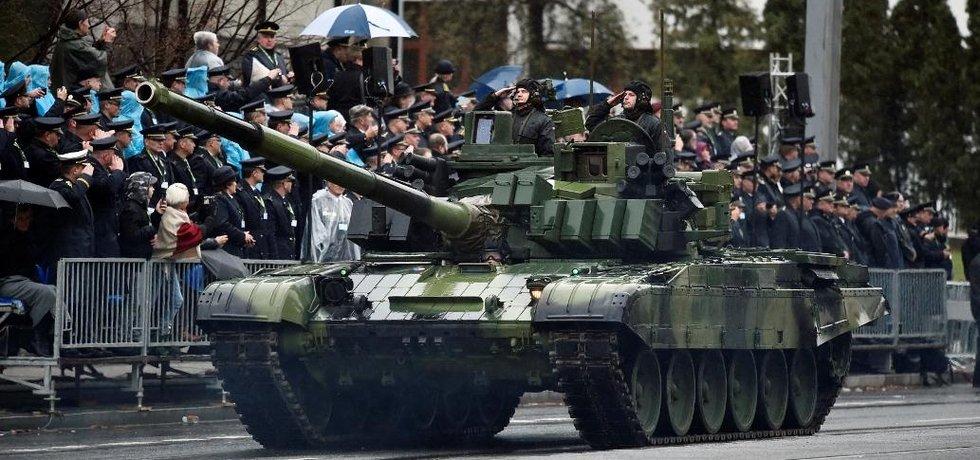 Tank T-72M4 CZ na vojenské přehlídce uspořádané ke 100. výročí vzniku Československa, která se konala 28. října 2018 v Praze na Evropské třídě.