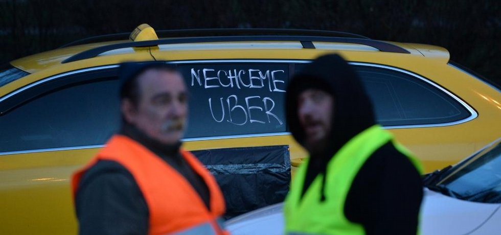 Protest pražských taxikářů, ilustrační foto