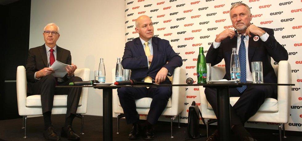 Jiří Drahoš, Pavel Fischer a Mirek Topolánek v prezidentské debatě týdeníku Euro