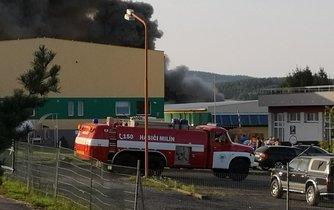 Požár areálu firmy Ravak v Příbrami