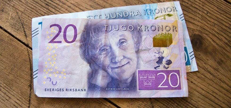 Dvacetikorunová švédská bankovka s portrétem spisovatelky Astrid Lindgrenové