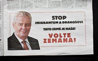 Inzerát Spolku Přátel Miloše Zemana