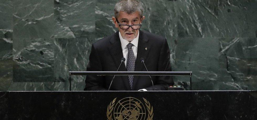 Český premiér Andrej Babiš během projevu na Valném shromáždění OSN