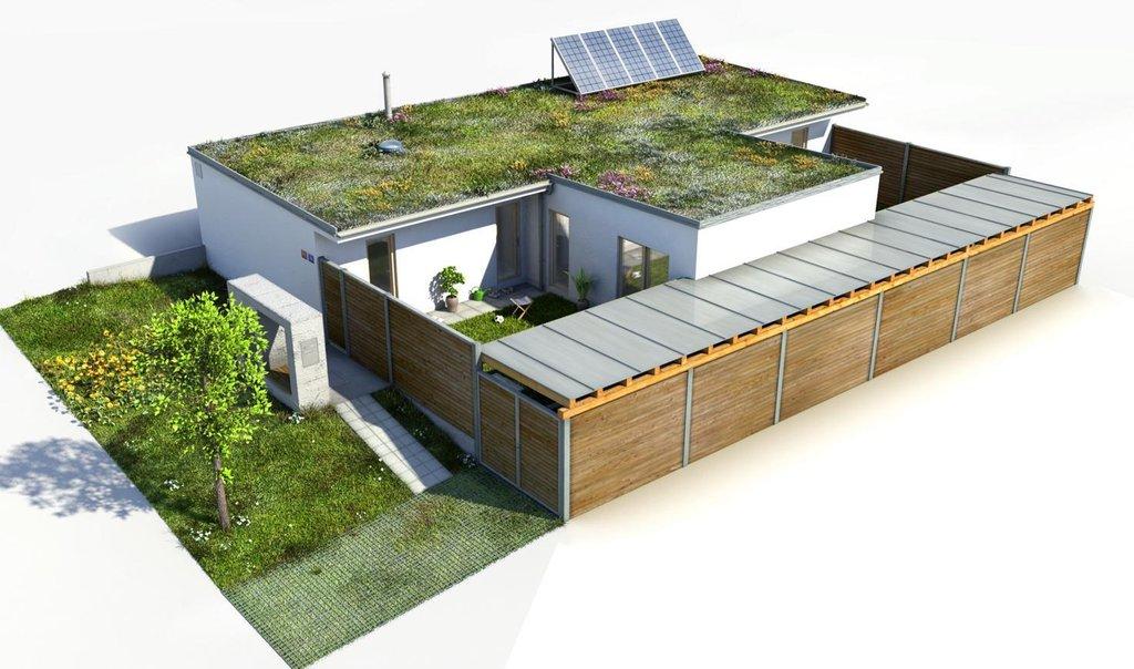 Vizualizace rodinného domu se 4 pokoji o rozloze 133 m2.