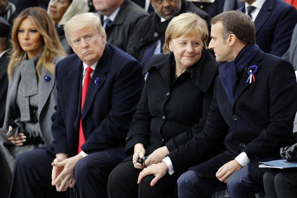 Melania Trumpová, Donald Trump, Angela Merkelová a Emmanuel Macron