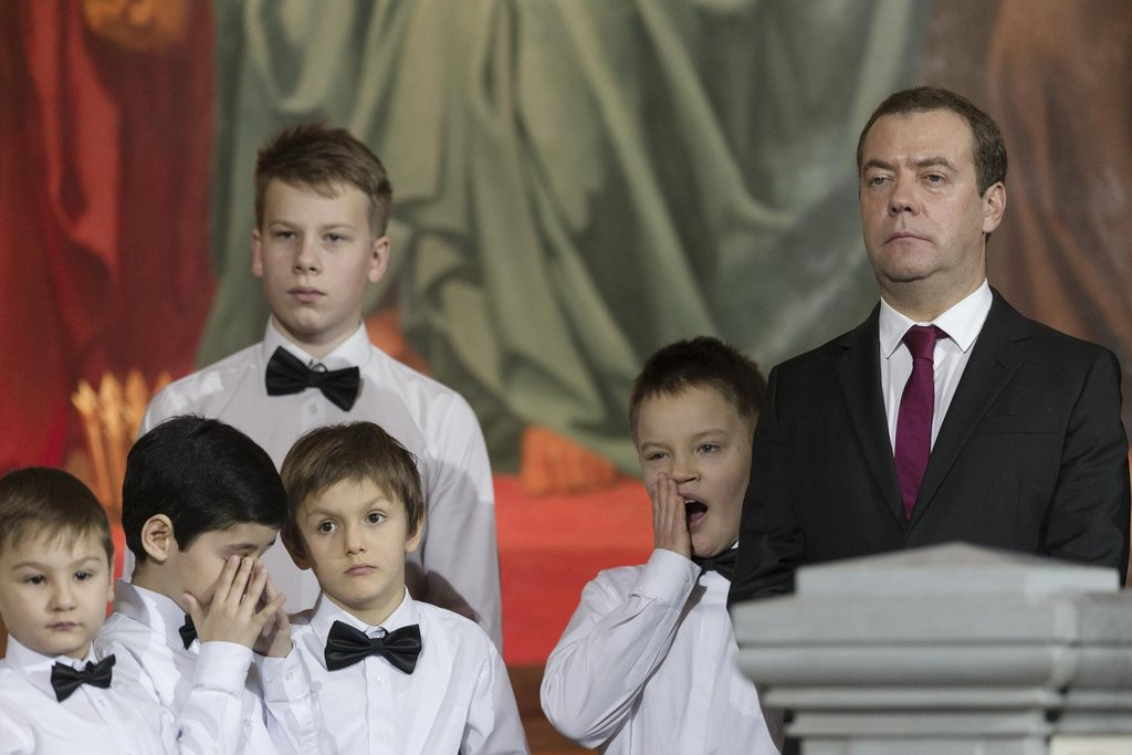 Dmitrij Medvěděv na pravoslavné vánoční mši