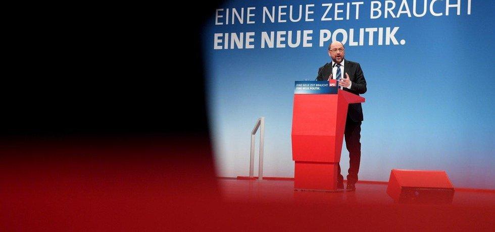 Martin Schulz na mimořádném sjezdu SPD v Bonnu