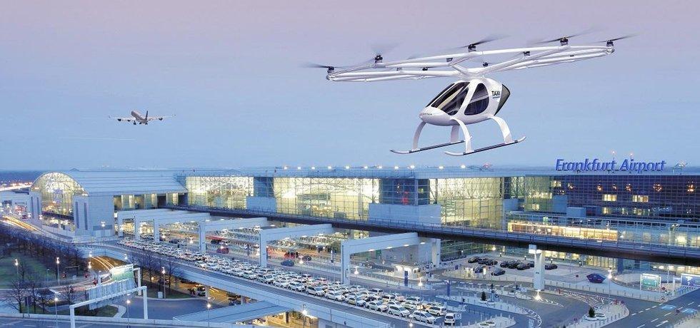 Vizualizace projektu létajícího taxi na letišti ve Frankfurtu nad Mohanem.