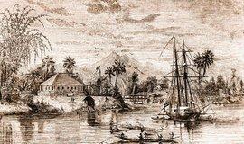 """Sídlo krále. Dobový pohled na Kučing a """"palác"""" Jamese Brooka, ze kterého spravoval Sarawak"""
