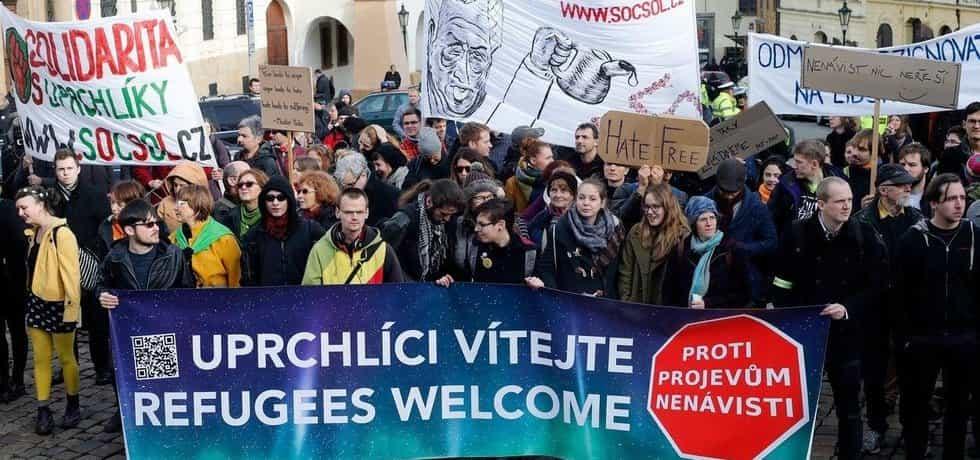 Demonstrace proti xenofobii a na podporu uprchlíků, ilustrační foto