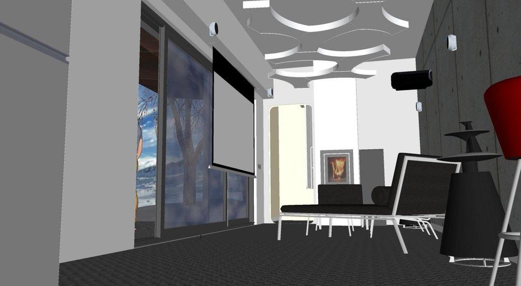 Vizualizace interiéru obývacího pokoje ve vagónu.