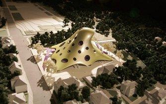 Návrh Národní knihovny (tzv. Blob) od architekta Jana Kaplického z roku 2007