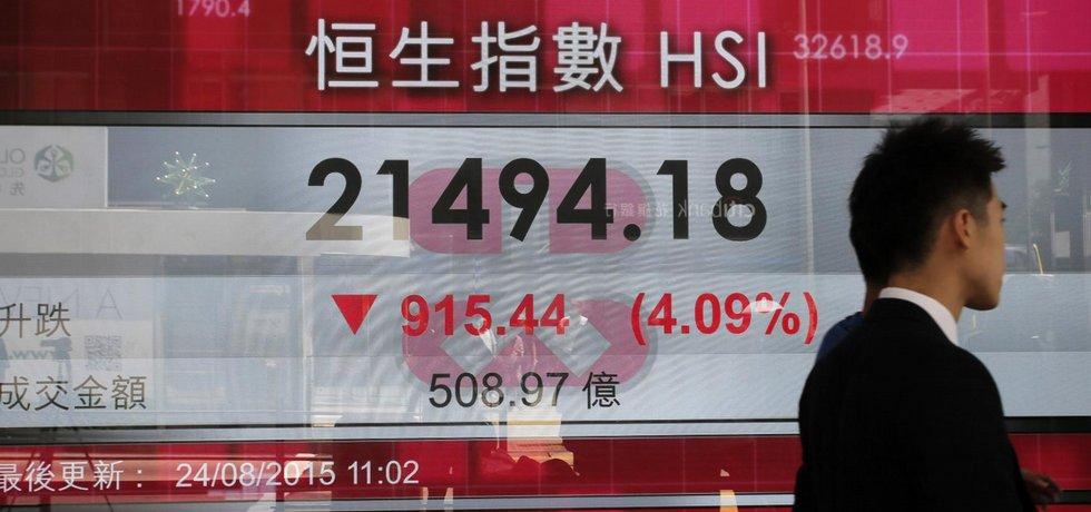 Propad akciového trhu v Hongkongu