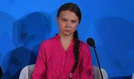 Greta Thunbergová v OSN.