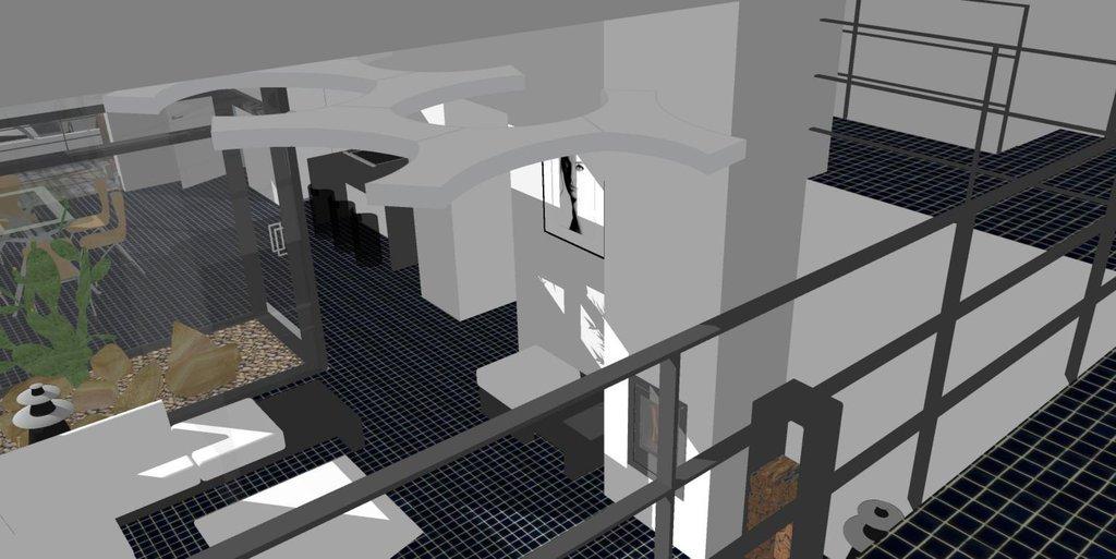 Vizualizace interiéru domu na vodě.