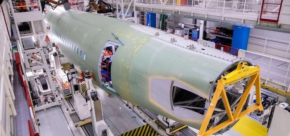 Výroba letadel Airbus v Hamburku, ilustrační foto
