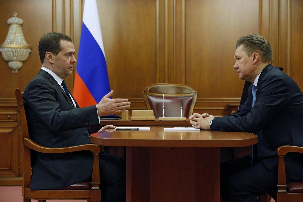 Dmitrij Medveděv a Alexej Miller