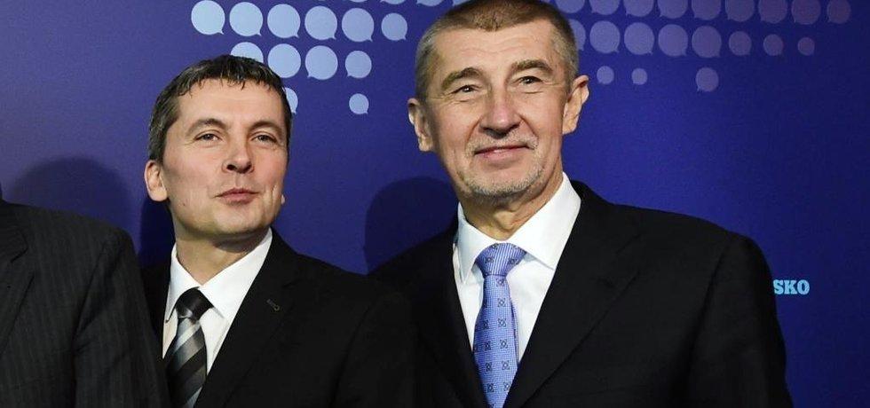 Petr Morcinek a Andrej Babiš na sněmu ANO