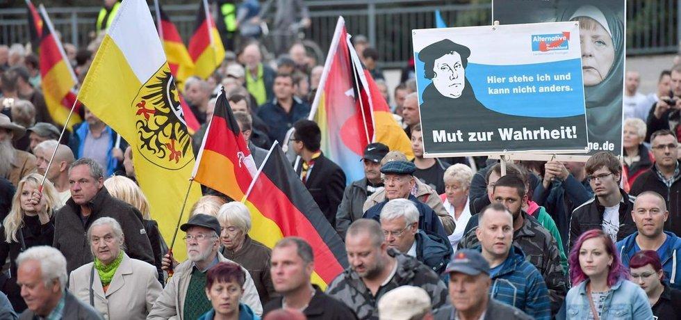 Demonstrace německé politické strany AfD (Alternative fur Deutschland), která bývá politickým establishmentem a mainstreamovými médii označována za populistickou.