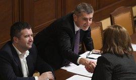 Premiér Andrej Babiš si podává ruku s ministryní financí Alenou Schillerovou poté, co poslanci schválili rozpočet na příští rok