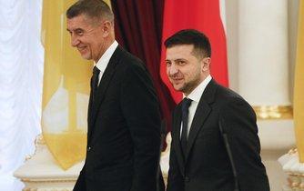 Český premiér Andrej Babiš a ukrajinský prezident Volodymyr Zelenskyj