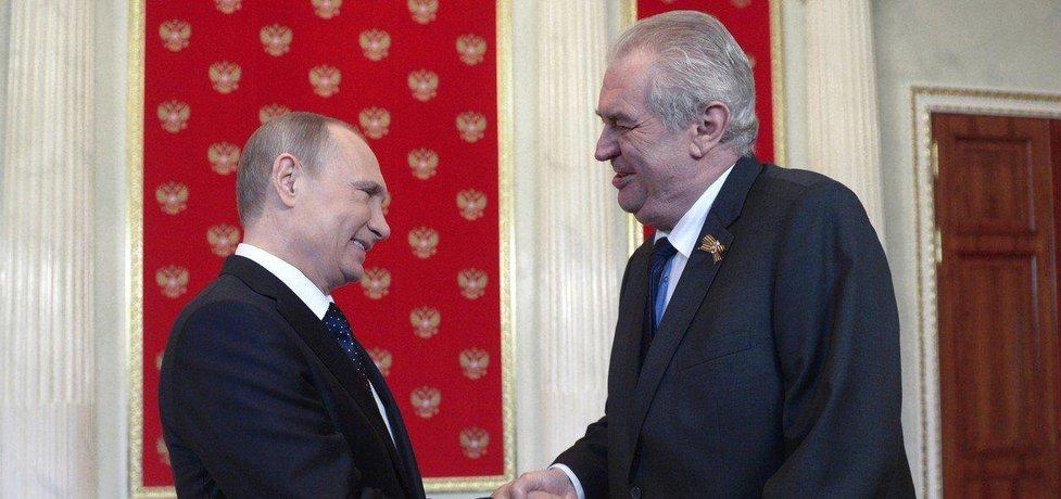 Miloš Zeman a Vladimir Putin v Kremlu 9. května 2015, ilustrační foto