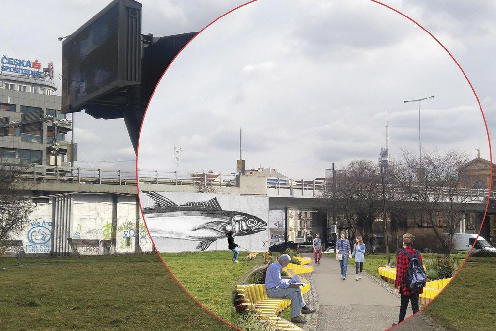 Stačí několik snadných opatření – odstranit billboard, upravit zeď a doplnit lavičky – a místo je rázem více městem než okolím dálničního nadjezdu