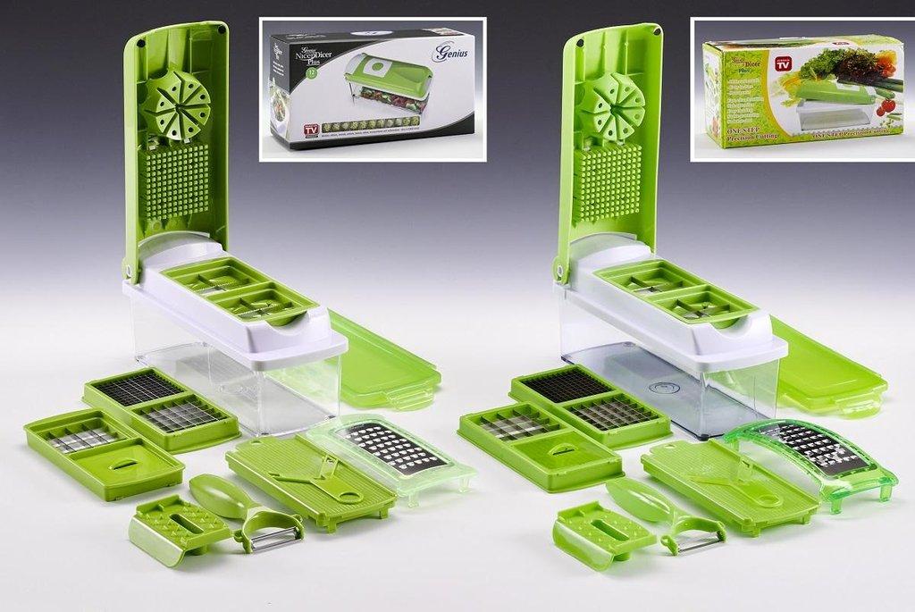 1. místo v soutěži Plagiarius 2018. Kuchyňská sada struhadel Nicer Dicer Plus. Vlevo originál výrobce Genius GmbH, Německo. Vpravo napodobenina firmy Pingyang County Leyi Gift Co. z Číny.