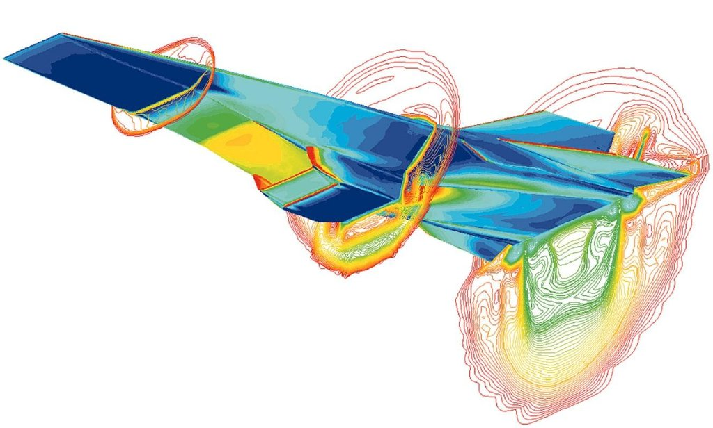Model proudění (průřez) kolem hypersonického letounku X-43 při rychlosti Mach 7 a tepelné namáhání jeho povrchu.