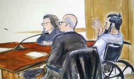 Kresba ze soudní síně z procesu se Sajfulláhem Saipovem