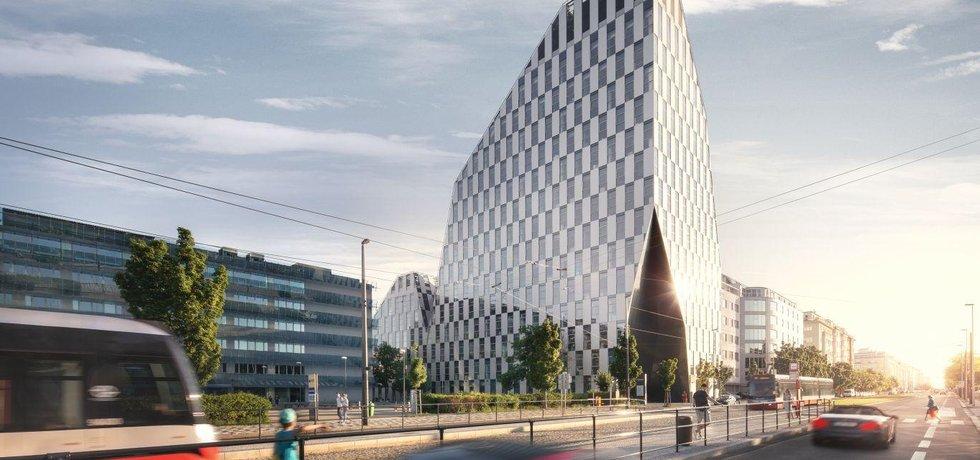 Šedesátimetrová administrativní budova Crystal na pražských Vinohradech má 14 nadzemních podlaží, ve čtyřech podzemních patrech o celkové ploše 14 310 m2 je kromě skladů a technického zázemí také 121 parkovacích míst.