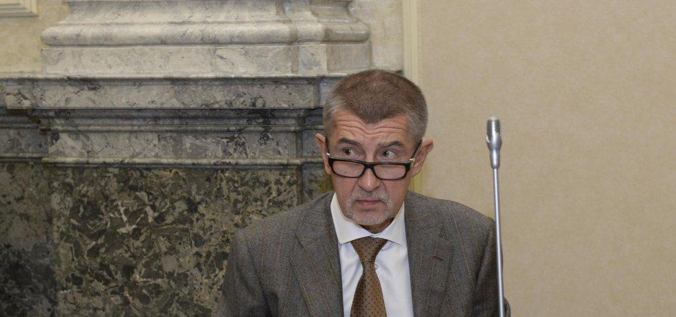 Vicepremiér a ministr financí Andrej Babiš na jednání vlády.